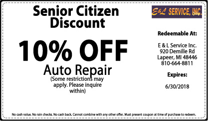 Senior Citizens Discount  - 10% OFF Auto Repair